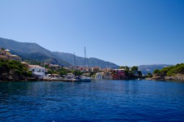 View into the small port of Assos on Kefalonia