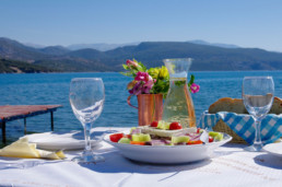 Greek Food with beautiful view