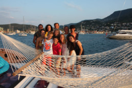 Family on charter vacation in ionian