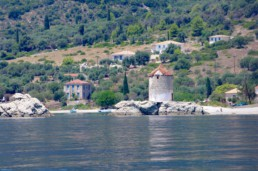 Ancient windmill on kalamos island in the ionian sea